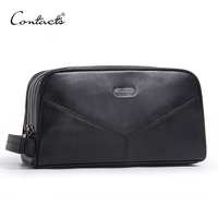 CONTACT'S genuine leather makeup bag men high quality men's cosmetic bags man travel bags black wash bag luxury double zipper