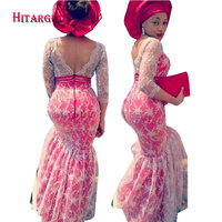 2017 New African Sexy Lace Mermaid Dresses For Women Balessless Vestidos Dashiki African Wax Print Lace