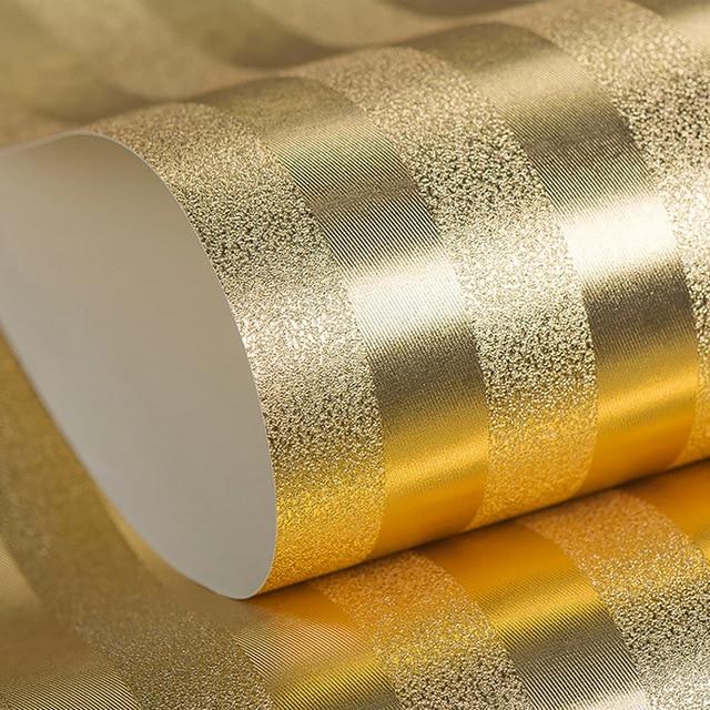 Luxus Strukturierte Gestreifte Tapete Gold Silber Metallic ...