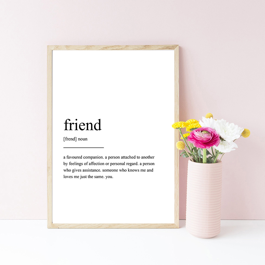 Friend Quotes Blcak and White Poster Prints Art Painting Nodic Minimalist Canvas Art Pictures Decor for Kid Nursery Bedroom in Painting Calligraphy from Home Garden