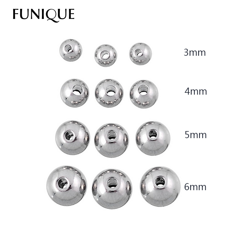 50PCs Stainless Steel Silver Tone Round Solid Beads  Over $125 Free Express jewelry making