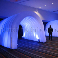 White small inflatable tunnel tent with led lighting 16 colors changeable for outdoor event party