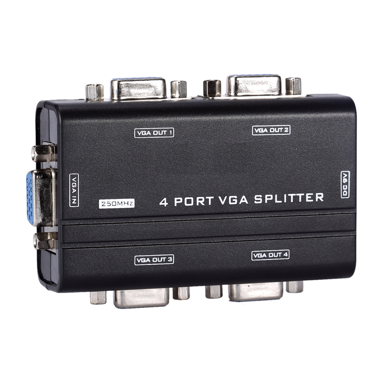 4 Port <font><b>VGA</b></font> Monitor Switch Adapter Splitter Box wholesale lots <font><b>vga</b></font> splitter 4 port <font><b>vga</b></font> splitter 1 in 4 out Free Shipping image