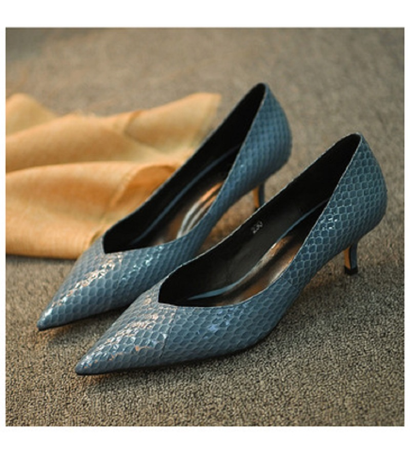 Chaussures Cuir Hauts Dames Casual Femmes Talons Style gris Qualité Mode kaki Bleu De Conception Haut En Serpent qB7qrxz