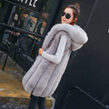 5 Colors Winter Thick Women Faux Fur Long Vest Jackets Sleeveless 2016 Fashion Solid Femme Ladies Fur Hooded Vest Coat V16-2