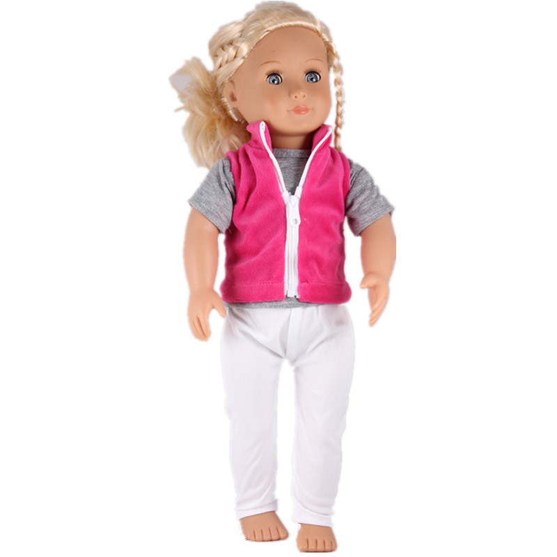 Baby Born Doll Red Zipper Vest Pure Grey O T-shirt And Tutu Skirts & Trousers Doll Clothes Set For 18inch American girl doll