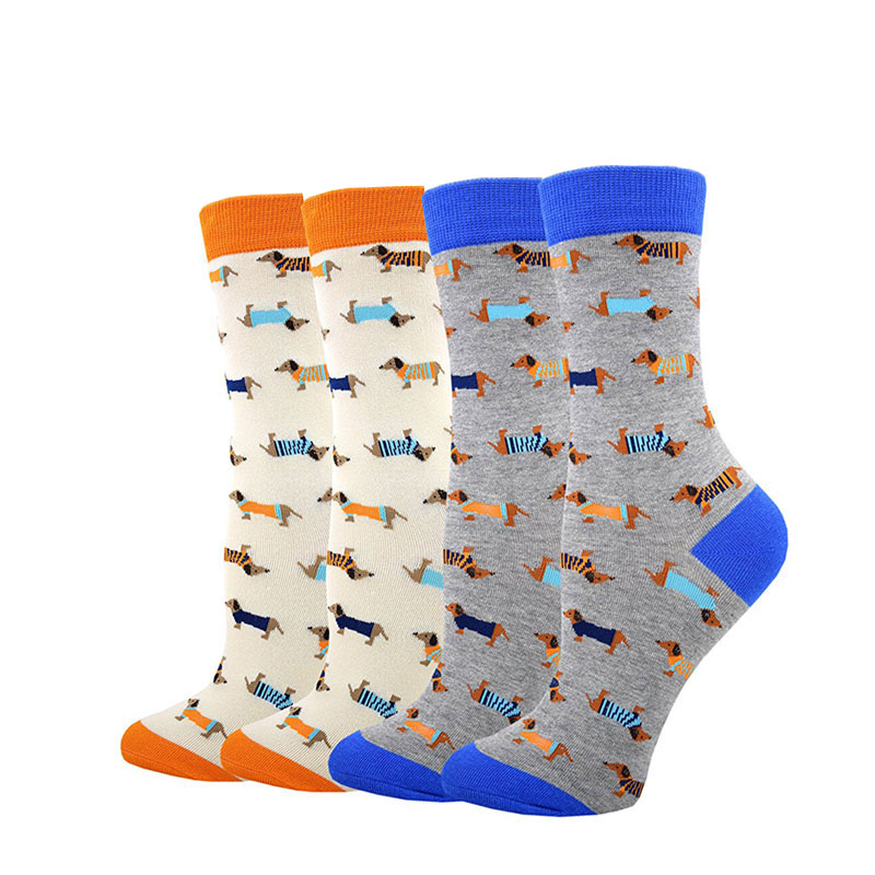 Brand Funny Cute Unisex Dachshund Cotton   Socks   Women Men Fun Husky Bulldogs Puppy Dog Animal Cartoon Long   Sock   Couple Lovers