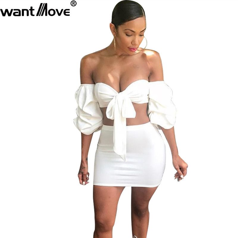 Wantmove 2018 summer new fashion women 2 piece suit sexy off the shoulder Puff sleeve strap top mini dress Two-piece suit JZ038