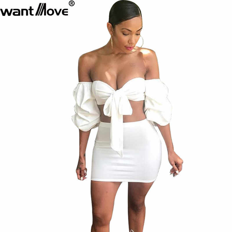 Wantmove 2018 summer new fashion women 2 piece suit sexy off the shoulder  Puff sleeve strap ac6abe70e