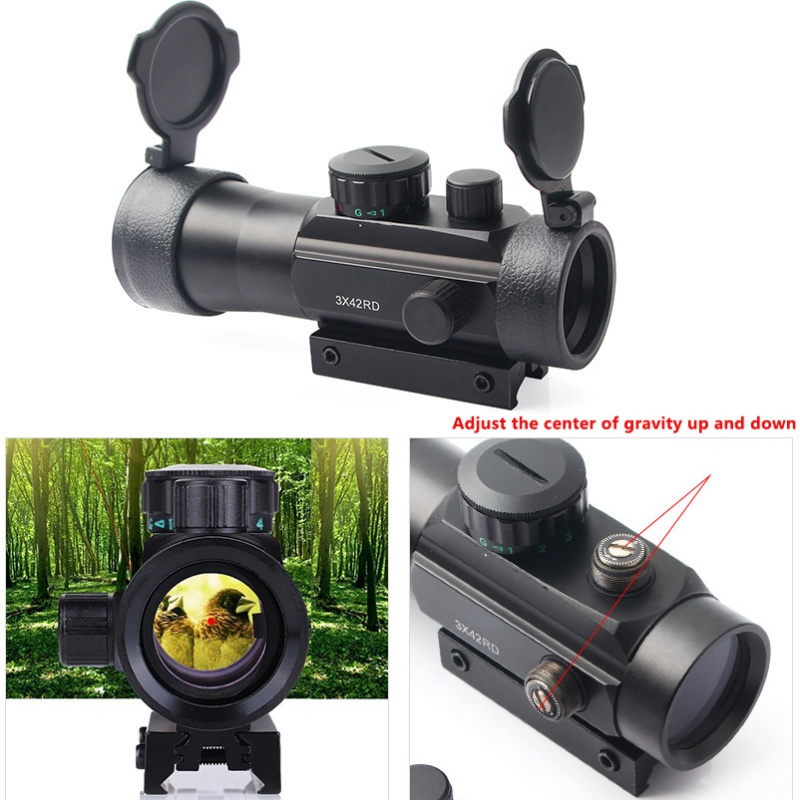 3X42RD Sight Zoom Three Times 10mm 20mm Convertible  Green Red Dot Line Of Sight Tactical Optical Sight