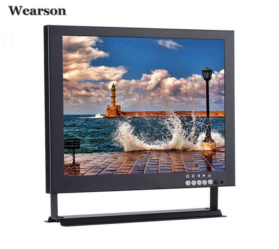 Wearson 12.1 Inch Metal HD VESA LCD Monitor BNC VGA AV HDMI Input 4:3 1024x768 With Bracket for PC CCTV Home Security DVD etc ...