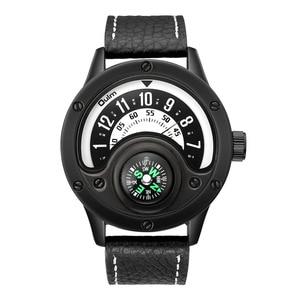 Image 3 - Creative מצפן גברים שעון קוורץ שעונים ספורט פטיפון חיוג שעוני יד מקרית רצועת עור צבאי שחור איש שעון Reloj
