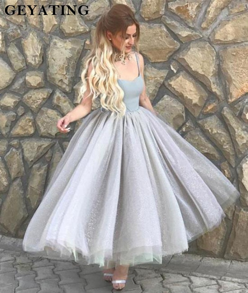 Vintage Silver Grey Short Prom Dresses 2019 Glitter Spaghetti Straps Tea Length Party Gowns Tulle Ball Gown Homecoming Dresses