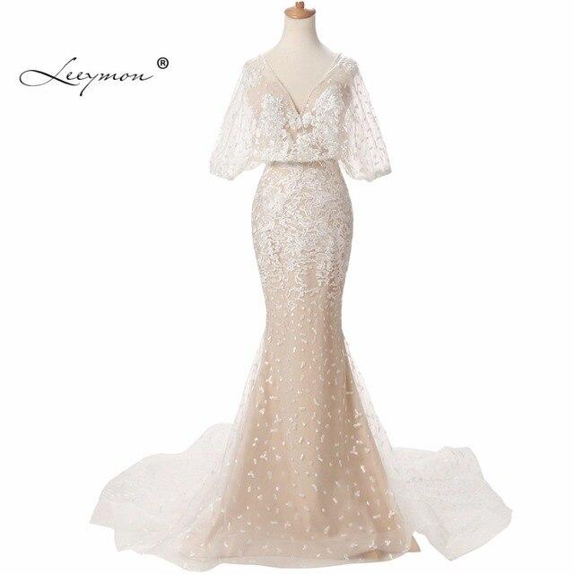 Leeymon Puffy Half Sleeves V Neck Bridal Dress 2017 Vintage Lace ...
