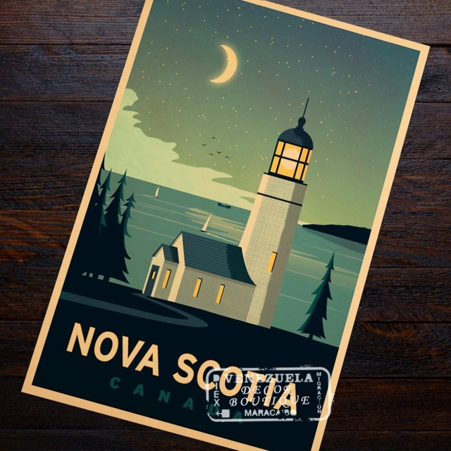 Canada Travel Nova Scotia Vintage Propaganda Retro Vintage Kraft Poster Decorative DIY Wall Sticker Home Bar Posters Decoration
