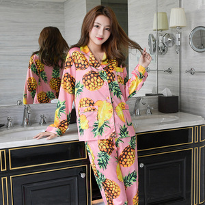 Image 2 - Freshing Summer Printing Women Pajama Set Rayon Long Section Fashion Pajamas