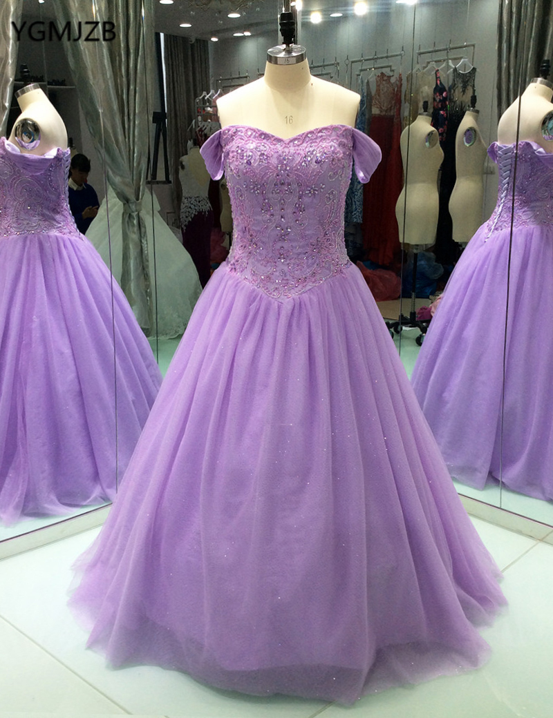 Vintage Lilac Ball Gown   Prom     Dresses   Elegant Off Shoulder Crystal Beaded Floor Length Tulle Formal Evening Party Gowns