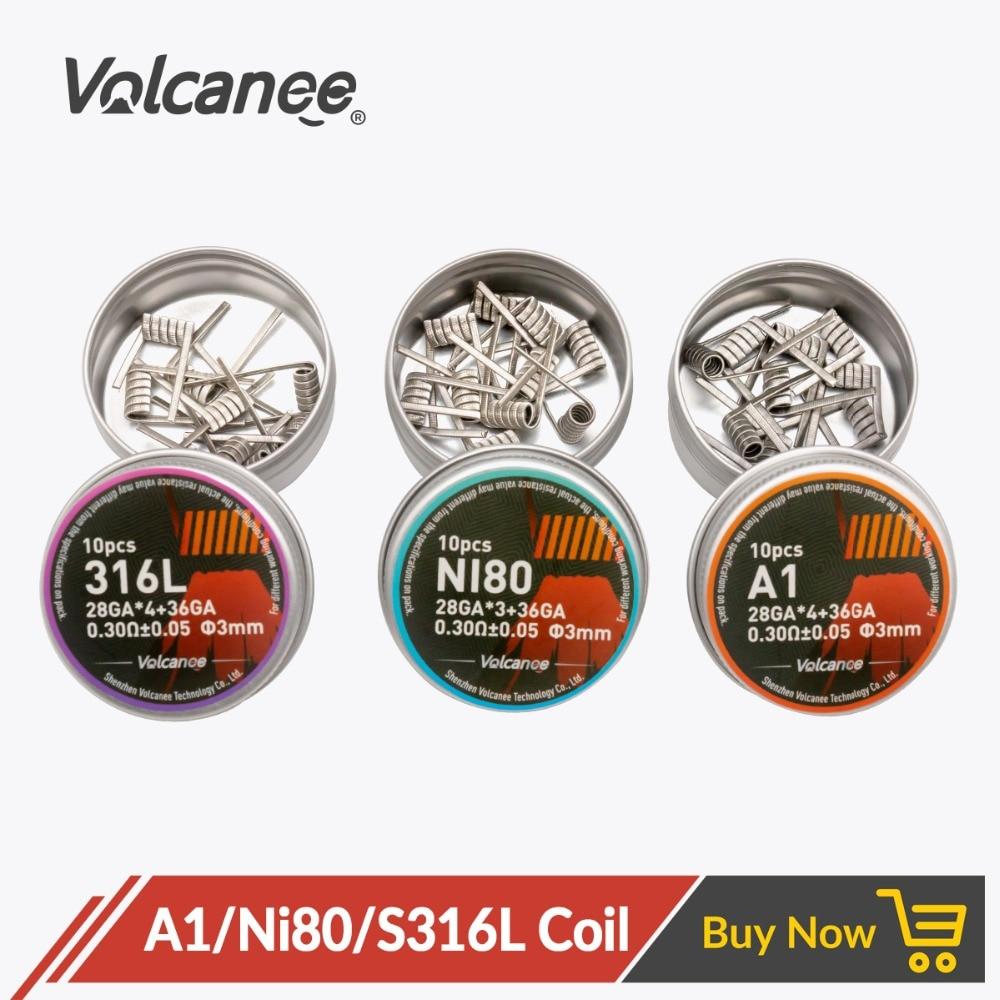 Volcanee 10pcs Premade Coil SS316L A1 NI80 Alien Fused Clapton Resistance Wire Nichrome Prebuilt Coils Heat Resistance Vape Coil