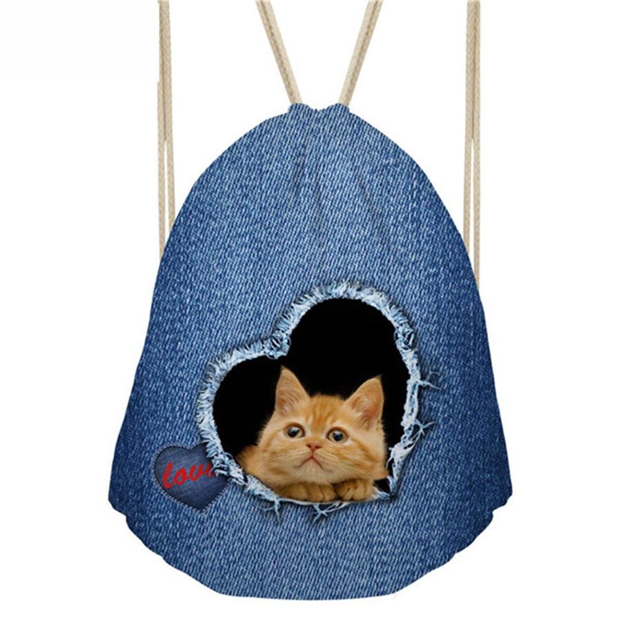 ThiKin Backpack Children Drawstring Bag Denim Animal Pug Dog Print Women s Mochila Small Bagpack for