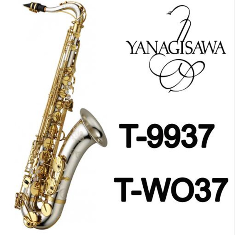 YANAGISAWA T-9937 T-WO37 Musical Instruments Tenor Saxophone Bb Tone Silver Plated Tube Gold Key Sax With Case Mouthpiece Gloves free shipping new high quality tenor saxophone france r54 b flat black gold nickel professional musical instruments