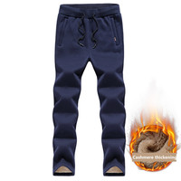 Winter Keep warm Cashmere thickening Mens Sweatpants Casual Faux Fur Warming Military Hombre Mens Trouser Plus Size M 5XL
