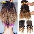 7A Brazilian Virgin Hair Deep Wave With Closure Brazilian Curly Hair With Closure Ombre Brazilian Hair Weave Bundle With Closure