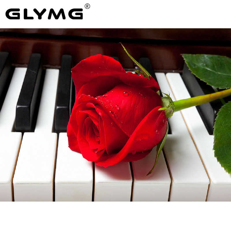 GLymg Needlework Piano Flower Diamond Painting Decor Drill Diy Mosaic Diamond Embroidery Set Full Square Drill Romantic Red Rose