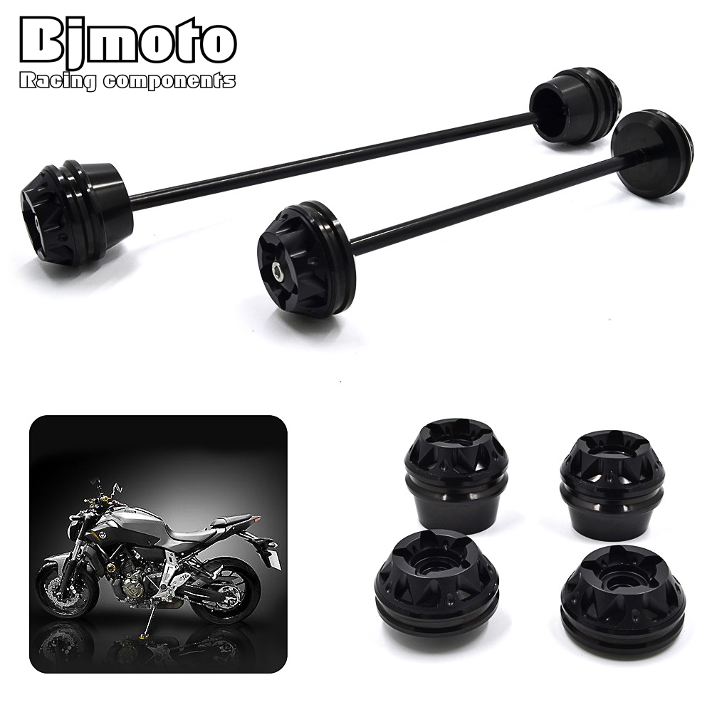 Bjmoto motorcycle Motobike Rear Front Axle Fork Crash Slider Protector Cap Falling Protection For YAMAHA MT-07 MT07 2013-2017Bjmoto motorcycle Motobike Rear Front Axle Fork Crash Slider Protector Cap Falling Protection For YAMAHA MT-07 MT07 2013-2017