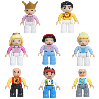Big Particles Figure Building Blocks princess castle knight figuren DIY Bricks Compatible With Duplo Accessory child Toys Gift 50pcs large particles numbers train building blocks bricks educational babycity toys compatible with duplo diy