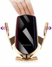 10W R1 Automatische Spannen Auto Draadloze Oplader Voor iPhone Huawei xiaomi Infrarood Inductie Qi Draadloze Oplader Auto Telefoon Houder