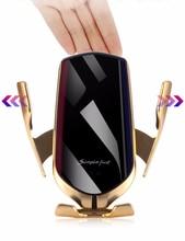 Chargeur sans fil de voiture de serrage automatique 10W R1 pour iPhone Huawei xiaomi Induction infrarouge Qi chargeur sans fil support pour téléphone de voiture