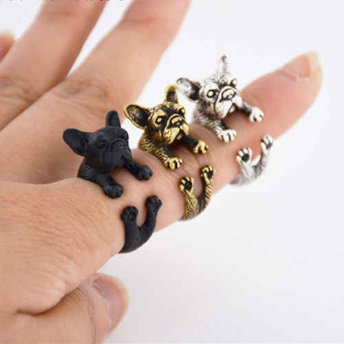 French Bulldog Puppy Dog Adjustable Wrap Ring Silver Black & Bronze Pug Frenchie