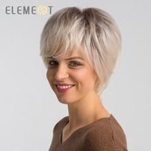 Element, 6 дюймов, короткий синтетический парик, смесь, 50% человеческие волосы для женщин, модные, стриженые, вечерние, на каждый день, парики