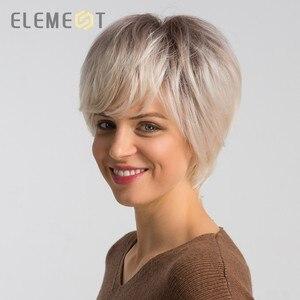 Peluca sintética corta de 6 pulgadas con mezcla de pelo 50% humano para mujer, pelucas de moda de corte Pixie para uso diario, Envío Gratis