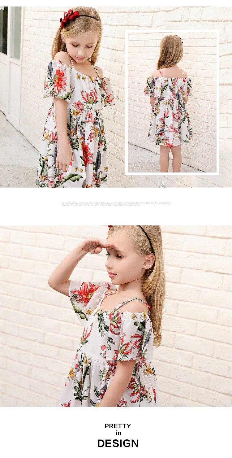 das Crianças Floral Impressão Vestidos de Praia