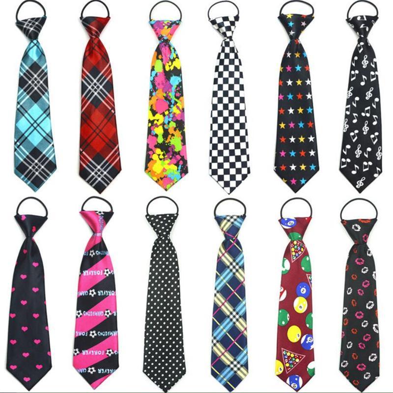 Kid's Necktie Print Cartoon Ties For Children Strip Dot Star Polyester Tie Elastic Rope