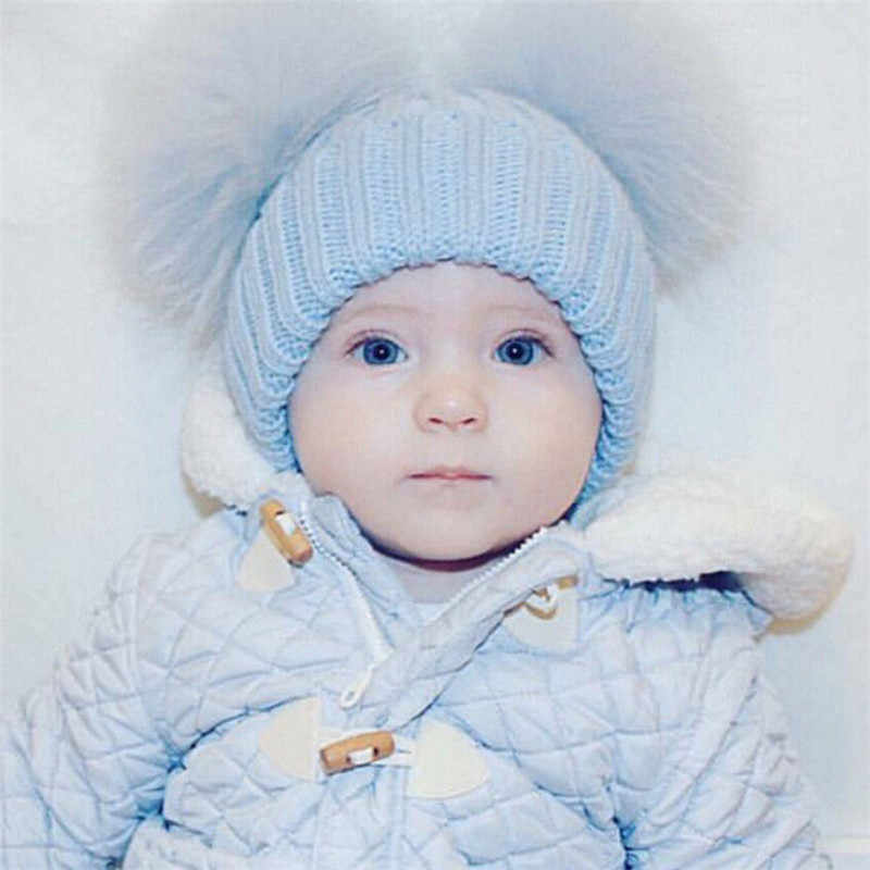 ed7682dfd64 ... Cute Rabbit Ears Baby Girl Hat Knit Soft Baby Bonnet Warm Winter Hat  Beanie Cap Baby ...