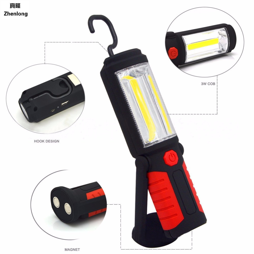 Powerful Portable 3000 Lumens COB LED Flashlight Magnetic Rechargeable Work Light 360 Degree Stand Hanging Torch Lamp For Work 4 in 1 led flashlight magnetic work light rechargeable stand hanging swivel hook rotation power bank torch lamp mfbs