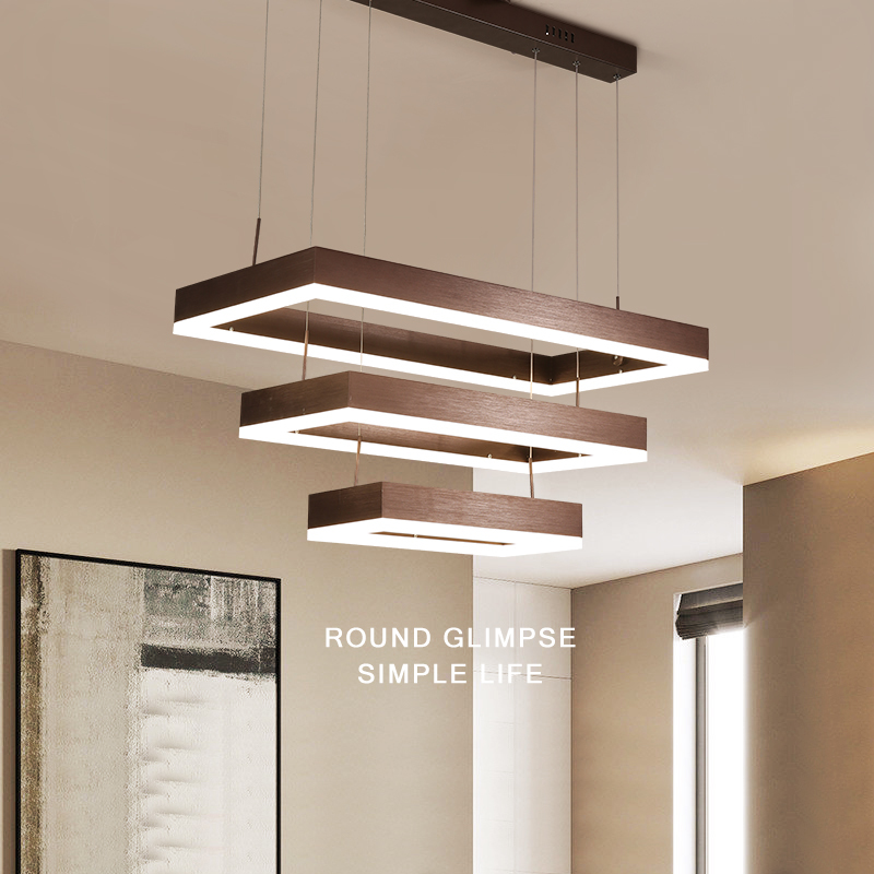 Minimalism Modern Pendant Lights LED lustres pendant lamp Brown rectangular suspension luminaire For Dining Living Room стоимость