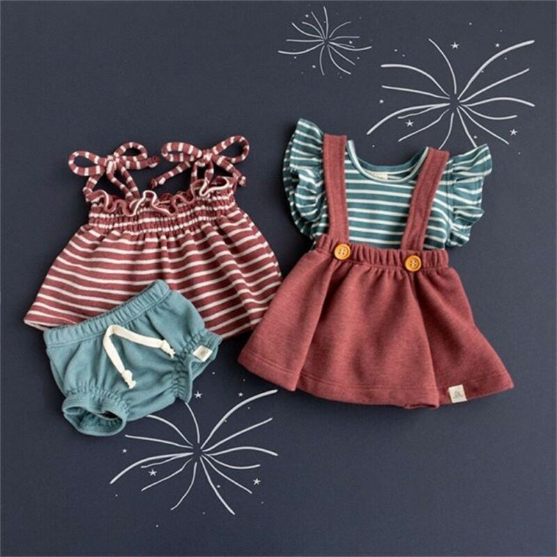 PUDCOCO Summer Newborn Infant Baby Girl Striped Tops Vest & Solid Shorts Pants / Skirts Outfit 2PCS Casual Clothes Set 0-24M