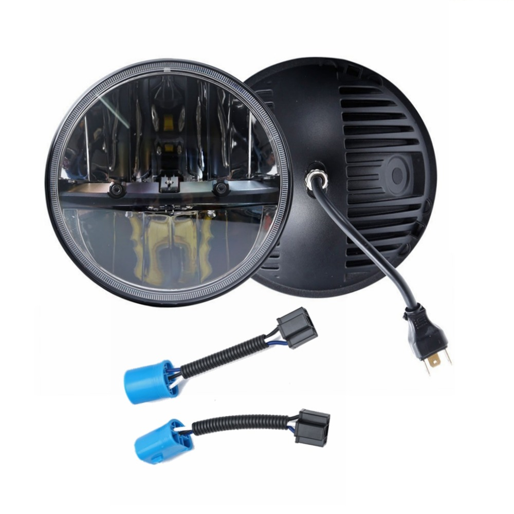 2 Pcs H4 Round Headlight High Beam & Low Beam for Jeep Wrangler and Land Rover Defender