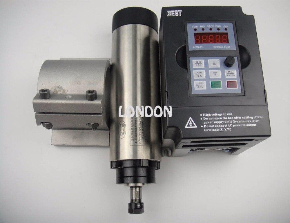 CNC spindle kit ER11 800w air cooling spindle motor + 1.5KW inverter+spindle support water cooling spindle sets 1pcs 0 8kw er11 220v spindle motor and matching 800w inverter inverter and 65mmmount bracket clamp