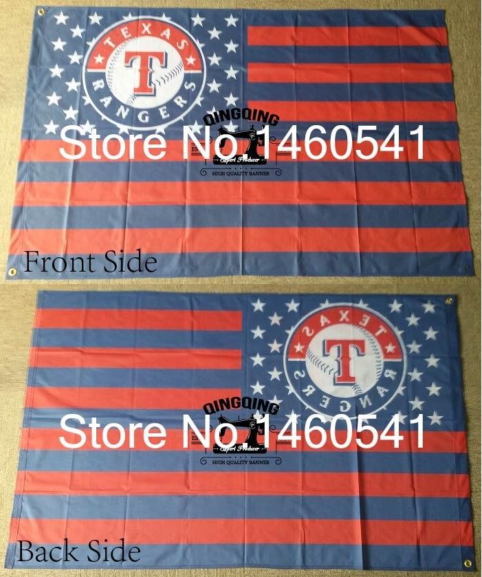 <font><b>Texas</b></font> Rangers New Nation Flag Stripe 3ft x 5ft Polyester MLB <font><b>Texas</b></font> Rangers Banner <font><b>Flying</b></font> Size No.4 144* 96cm