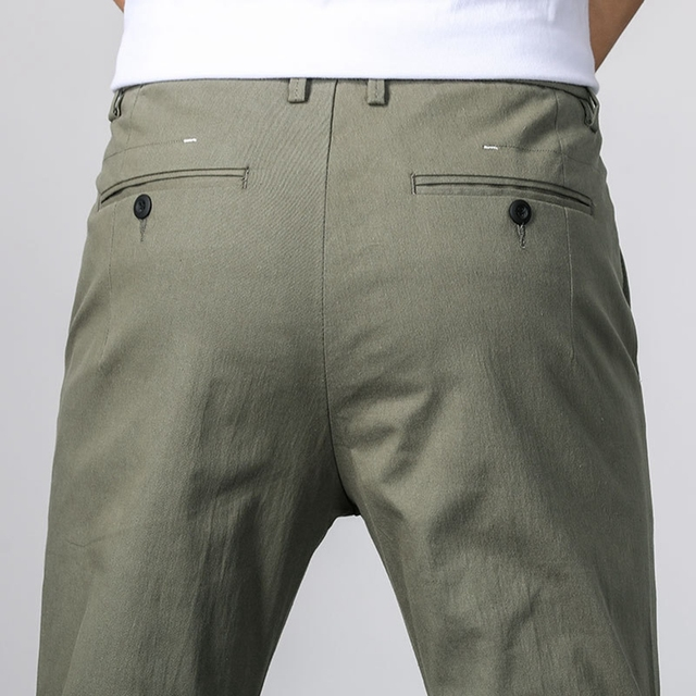 Men ANKLE Length Trousers 98.2% cotton 1.8% spandex Summer Thin Zipper Green Grey Black Slim Male Young Man Pencil Ninth Pants 6