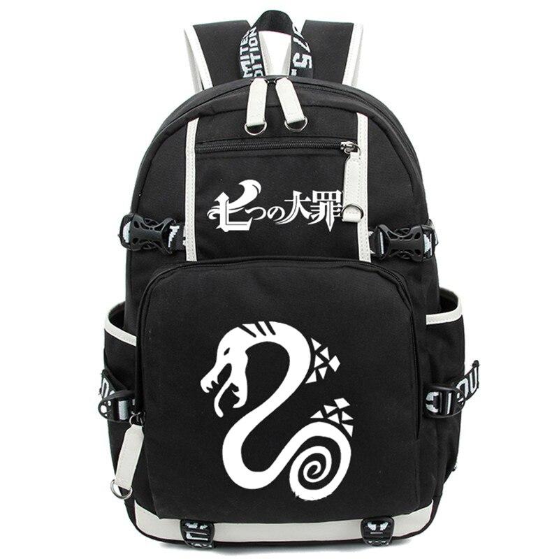 9eb78d6d6 Anime los siete pecados capitales nanatsu no taizai estudiantes mochila  viaje mochilas mochila nylon luminoso bolso de impresión