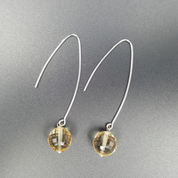 LiiJi Unique Natural Clear Citrines Faceted 10mm beads 925 Sterling Silver Long Drop Earrings