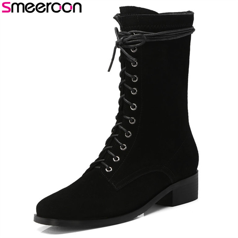 Smeeroon 2018 new arrival fashion style autumn women boots high quality med heels ankle boots cow suede leather boots black morazora new china s style knee high boots flowers embroidery spring autumn boots for women zipper cow suede med heels boots