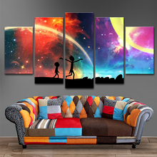 Canvas Fashion Painting Framework For Living Room Artwork 5 Panels Rick And Morty Art Home Decor Wall Modern Popular Picture