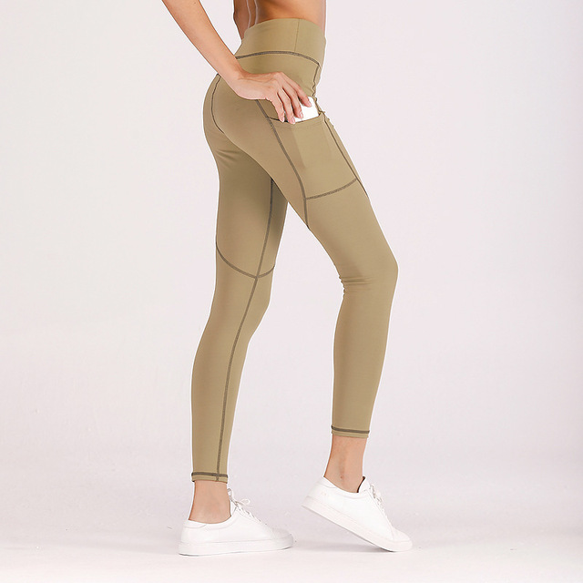 fcab56d08de167 New Fitness Leggings Women Work Out Side Pockets Polyester Solid High Waist  Trousers Elasticity Lady's Legging Push Up Leggings