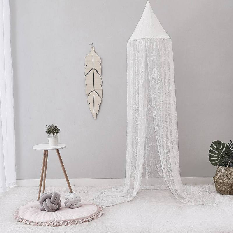 Nordic Circular White Canopy Bed Valance Kids Room Decoration Bed Tent Moustiquaire Princess Kids Girls Round Mosquito Net